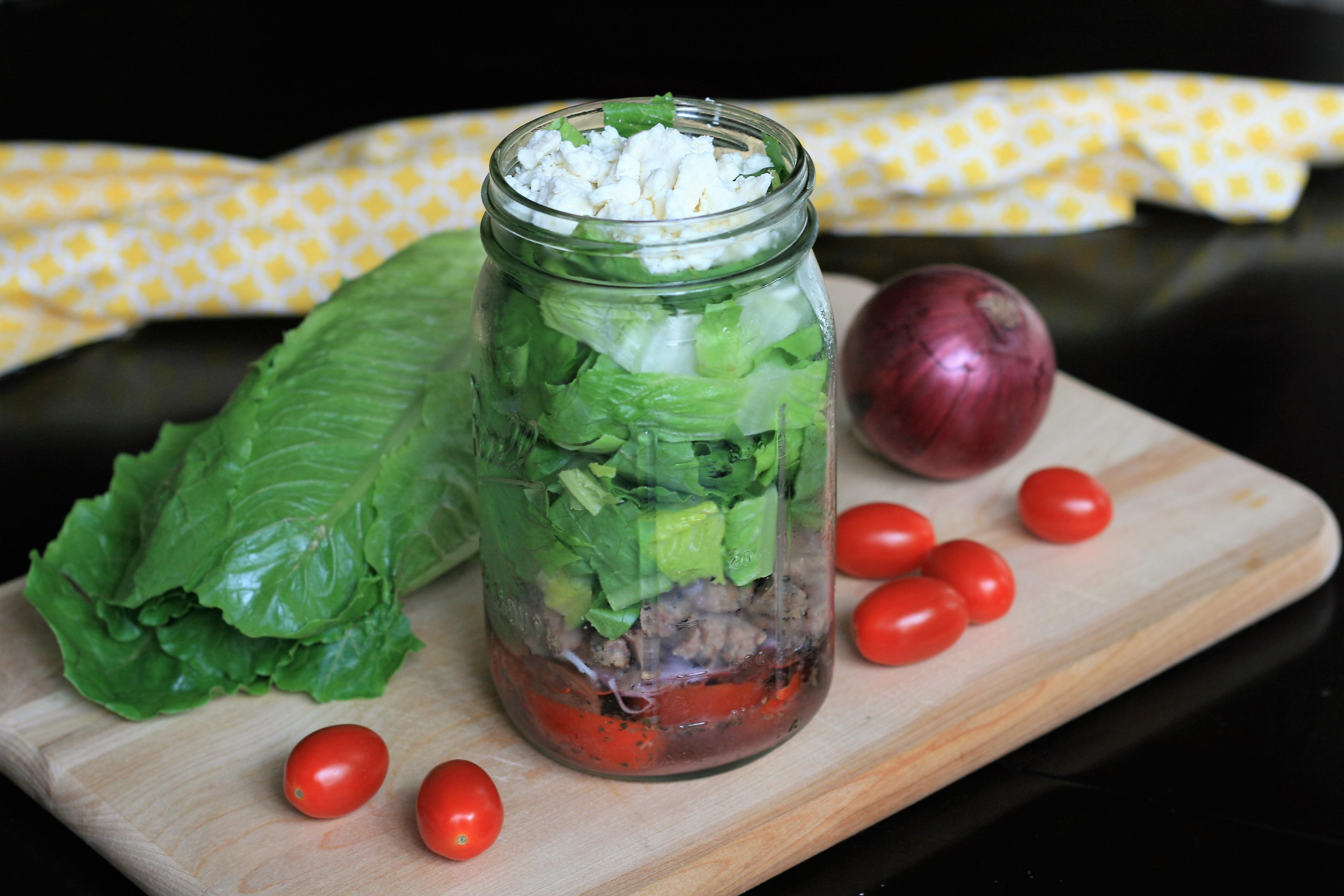 Greek Mason Jar Steak Salad