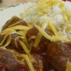 Meatballs Mexicana and Rice
