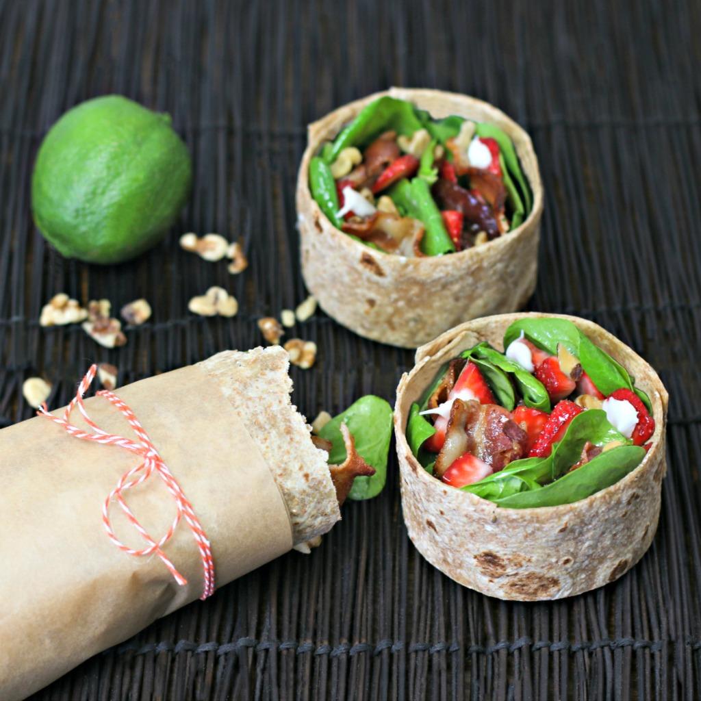 Strawberry Spinach Salad Breakfast Wrap
